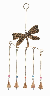 Metal Dragonfly Wind Chime Assembled With 5 Hanging Bells - 26786 by Benzara