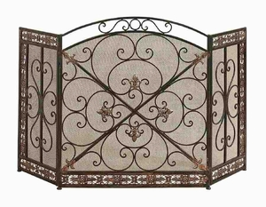 Metal Fire Screen with Artistic Detailing in Deep Bronze Finish Brand Woodland
