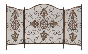 Metal Fireplace Screen with Metal Wire Mesh, 52 Inch X 33 Inch, 3 Panels Brand Woodland