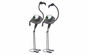 Metal Flamingos Decor - Whimsical Metal Flamingos With Gazing Ball - Set of 2 Brand Woodland