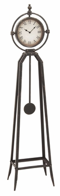 Metal Floor Clock with Pendulum, 57 Inch Height, 8 Inch Face Diameter Brand Woodland
