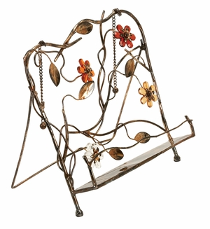 Metal Floral Book Rack in Copper Finish with Modern Design Brand Woodland