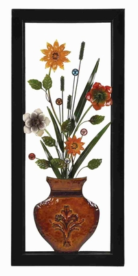 Metal Floral Vase Wall Decor in Multi Color with Modern Design Brand Woodland