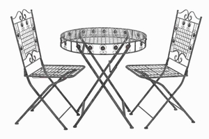 Metal Foldable Bistro Table with Sturdy Legs (Set of 3) Brand Woodland