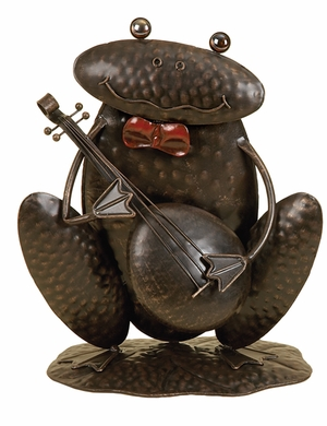 Metal Frog Decor in Dark Brown Finish with Unique Design Brand Woodland