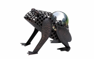 Metal Frog Decor - Whimsical Metal Frog With Gazing Ball Brand Woodland