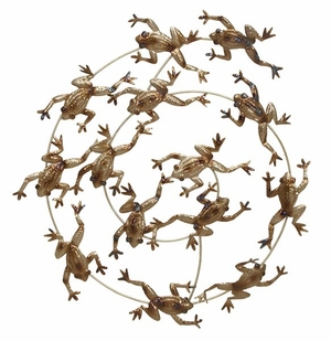 Metal Frog Wall Decor in Bronze Finish with Unique Design Brand Woodland