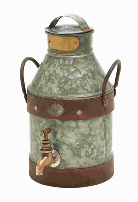 Metal Galvanized Milk Can with Galvanized Metal Construction Brand Woodland