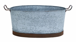 Metal Galvanized Oval Tub with Crepe Design) Brand Woodland
