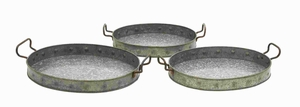 Metal Galvanized Trays Designed with Great Precision (Set of 3) Brand Woodland