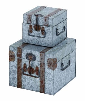 Metal Galvanized Trunk Box with Scene Stealing Design and Locks - Set of 2 Brand Woodland