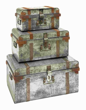 Metal Galvanized Trunk with Rivets and Metal Strips (Set of 3) Brand Woodland