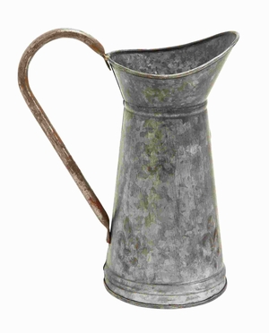 Metal Galvanized Watering Jug with A Slender Wide Handle Brand Woodland