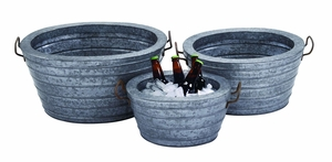 Metal Galvanized Wine Tub with Robust and Rust Finish - Set of 3 Brand Woodland