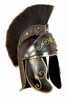 Metal Gladiator Helmet with Duster in Dark Brown Finish Brand Woodland