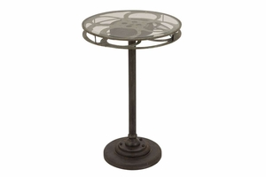 Metal Glass Accent Table, 28 Inch Height, 19 Inch Width Brand Woodland