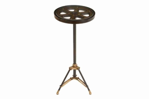 Metal Glass Accent Table, Movie Reel, 30 Inch x 13 Inch Brand Woodland