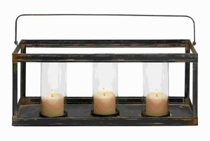 Metal Glass Candle Holder with Transparent Glass and Unique Look Brand Woodland