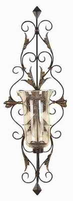 Metal Glass Candle Sconce Crafted with Intricate Detailing Brand Woodland