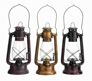 Metal Glass Lantern Assorted in Classical Style (Set of 3) Brand Woodland