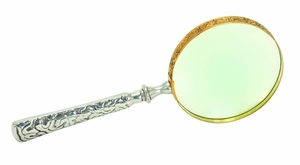 Metal Glass Magnifier with Fine Detailing in Silver Gold Finish Brand Woodland