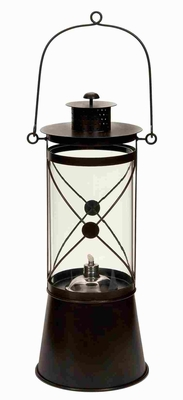Metal Glass Oil Lamp in Dark Brown Finish with Artistic Design Brand Woodland