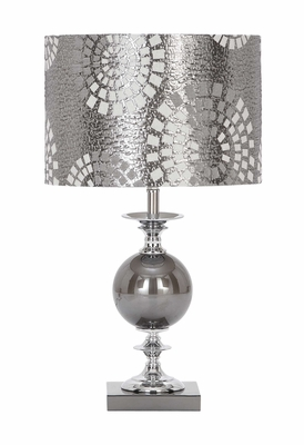 Metal Glass Table Lamp With Beautiful Cut Design Shade Brand Woodland
