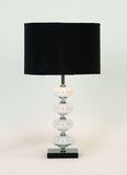 Metal Glass Table Lamps with Black Fabric Shades - Set of 2 Brand Woodland