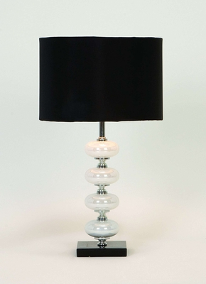 Metal Glass Table Lamp with Black Fabric Shade Brand Woodland