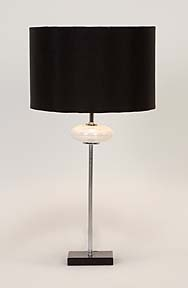 Metal Glass Table Lamps with Black Fabrics Shades - Set of 2 Brand Woodland