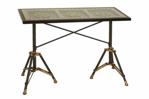 Metal Glass Table, Movie Reel Design, 42 Inch x 30 Inch Brand Woodland
