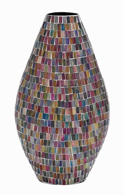 Metal Glass Vase Elegant Design in Multicolored Mosaic Pattern Brand Woodland