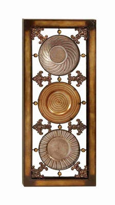 Metal Glass Wall Decor in Brown Color with Abstract Design Brand Woodland