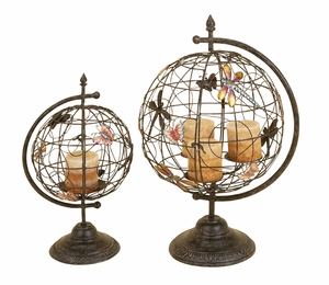 Metal Globe Candle Holder with Contemporary Design - Set of 2 Brand Woodland