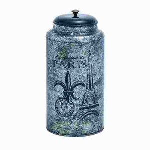 Metal Jar in Classic Black & Silver Color with Worn Out Detailing Brand Woodland