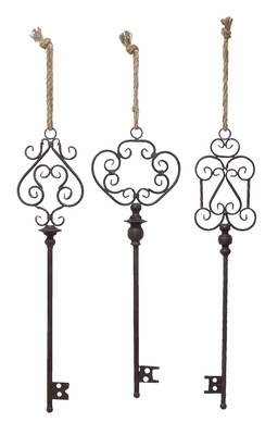 Metal Key D�cor in Artistic Design with Rope - Set of 3 Brand Woodland
