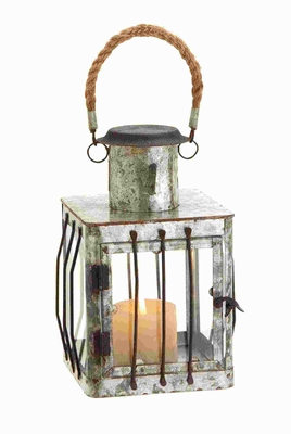 Metal Lantern with Rustic Finish Metal Rods and Sturdy Rope Loop Brand Woodland