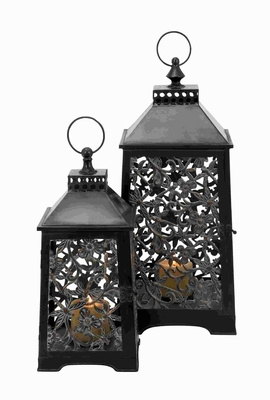 Metal Lanterns in Antique Brass Finish with Durability (Set of 2) Brand Woodland