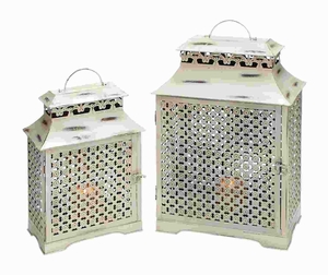 Metal Lanterns in Antique Finish with Durability (Set of 2) Brand Woodland
