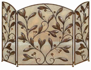 Metal Leaf Fireplace Screen, Metal Fire Screen with Mesh Wire Brand Woodland