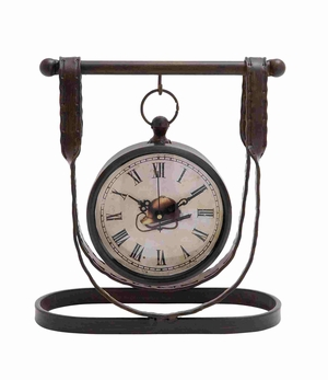 Metal Leather Strap Styled Antique Themed Desk Clock Brand Benzara