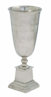 Metal Lum Vase with Minimal Styling in Beautiful Silver Finish Brand Woodland