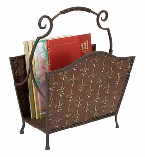 Metal Magazine Holder in Dark Brown Finish with Intricate Design Brand Woodland