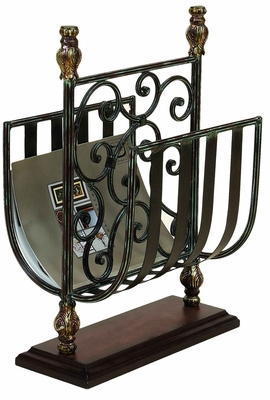 Metal Magazine Rack in Dark Brown Finish with Elegant Design Brand Woodland