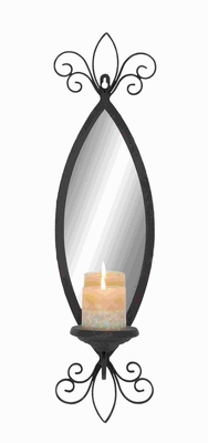 Metal Mirror Candle Sconce with Secure Loop and Swirl accents Brand Woodland