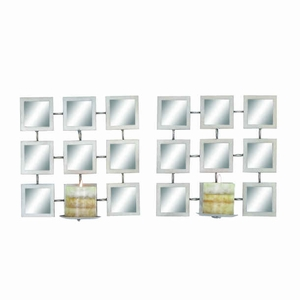 Metal/Mirror Candle with Enthralling Ambience (Set of 2) Brand Woodland
