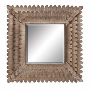 Metal Mirror _ Square Metal Wall Mirror of Layered Feather Design Brand Woodland