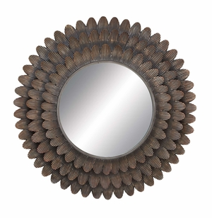 Metal Mirror _ This Round Metal Wall Mirror of Sunflower Design Brand Woodland