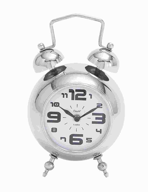 Metal Nickel Plated Table Clock with Nickel Plated Finish Brand Woodland