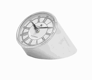 Metal Nickel Plated Table Clock with Stylish Urban Design Brand Woodland